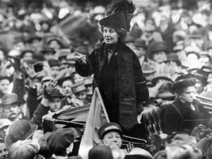 British suffragette Emmeline Pankhurst being jeered by a crowd