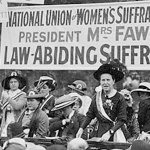 Millicent Fawcett (centre) speaks at a Suffragette pilgrimage in Hyde Park